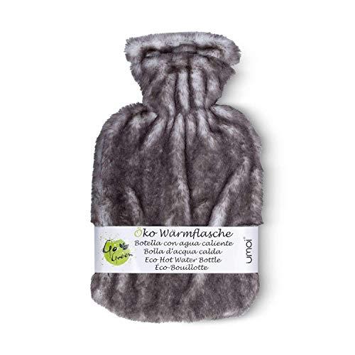 Umoi 2019 - Borsa dell'acqua calda ecologica, 2 litri, con pelliccia naturale di alta qualità e rivestimento in pelliccia ecologica, certificato BS1970:2012