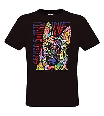 DarkArt-Designs mode de vie T-Shirt Shepherd Love - motif chien T-shirt pour enfants et adultes - motif de plaisir Lifestyle regular fit, Noir,