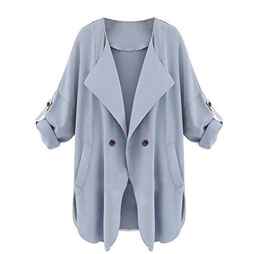 ESAILQ Herbst Damen Langarm Strickjacke Top Mantel Jacke(S,Blau)