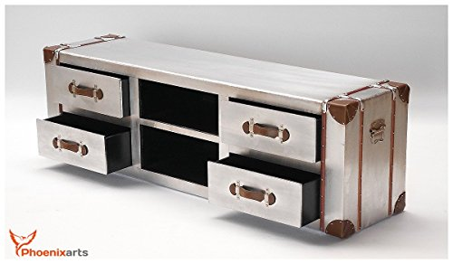 phoenixarts industrie design vintage tv sideboard schrank aluminium truhe lowboard loft m bel. Black Bedroom Furniture Sets. Home Design Ideas