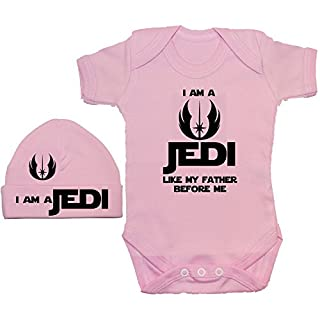 Acce Products I Am a Jedi Like My Father Before Me Baby Grow/Bodysuit/Romper/T-Shirt & Beanie Hat/Cap - 3-6 Months - Pink