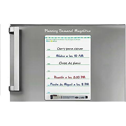 PIZARRA MAGNETICA con PLAN SEMANAL para frigoríficos con rotulador magnético para pizarras