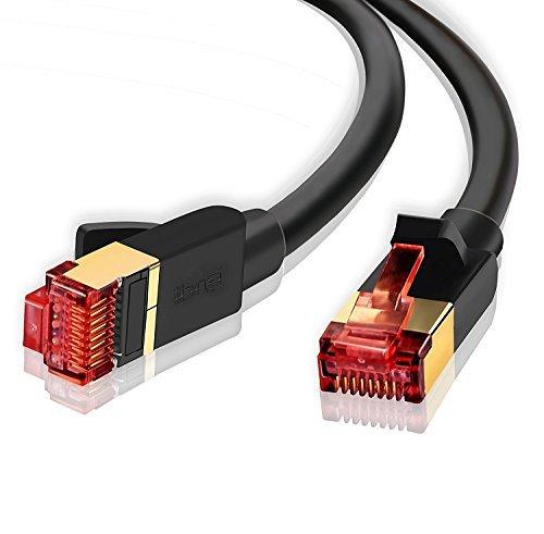 2m (2 PACK) - CAT.7 Ethernet Gigabit Lan Netzwerkkabel (RJ45) | 10Gbps 600Mhz (10/100/1000Mbit/s) | Patchkabel | STP | kompatibel zu CAT.5 / CAT.5e / CAT.6 | Switch/Router/Modem/Patchpannel/Access Point/Patchfelder | IBRA Runde schwarz