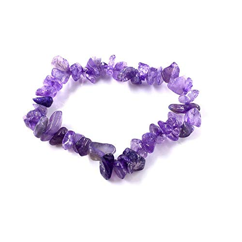 Stein Armband,Natürliche Edelstein Armband Stretch Chip Perlen Nuggets Granat Crystal Coral Quarz Armbänder Armreifen Für Frauen Lila