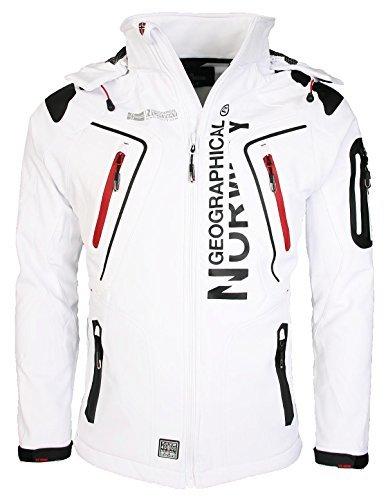 Geographical Norway Tambour Herren Softshell Jacke, Weiß, M (Polyester-freizeit-anzug-jacke)