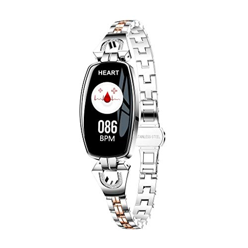 Bovake Smartwatches H8 Farbbildschirm Blutdruck Pulsuhr Smart Armband Uhr Schrittzähler (Silber) - Smart Der Basketball Sensor