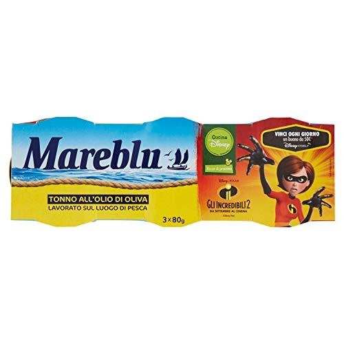 Mareblu - Tonno all'Olio di Oliva - 4 confezioni da 3 scatolette da 80 g [12 scatolette, 960 g]