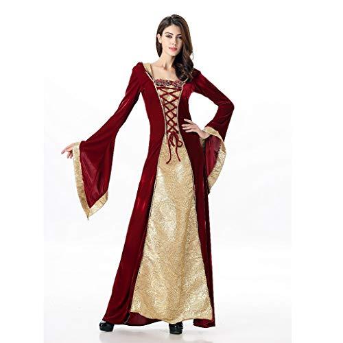 CoolTing Frauen Mittelalterlich Sexy Gothic Hexe Mit Kapuze Kleid Erwachsene Frauen Halloween Kostüme Vampire Witch Party Maskerade Lange DressM-XL,Red,XL