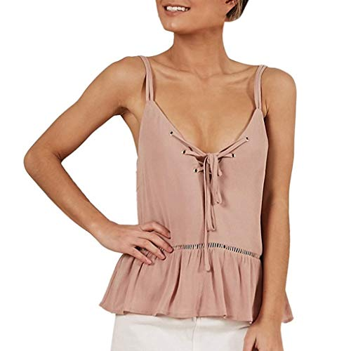 Go First Womens Spaghetti Strap Racerback Tanktops ärmellose High Low Ruffle Flowy Shirts Blusen (Color : Rosa, Size : Medium) -