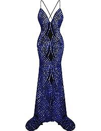 Angel-fashions Womens Spaghetti Strap Prom Dresses Court Train Sequin
