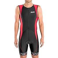 SLS3 Triathlon Einteiler Herren | FX Trisuit | 2 Taschen | Wettkampf | Frontreißverschluss | Schwarz