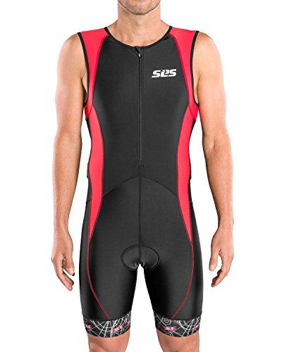 SLS3 Triathlon Einteiler Herren | FX Trisuit | 2 Taschen | Wettkampf | Frontreißverschluss | Schwarz (Black/Red, L)