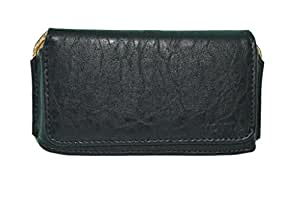 Generic Premium Leather Fabric Belt Pouch for - Sony Xperia T2 Ultra - Black - BLPBK60#1621DR