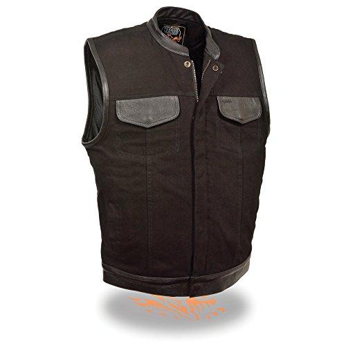 Men's SOA Leather Trimmed Denim Vest Concealed Snap w/ Hidden Zipper w/ 2 Inside Gun Pockets (XX-Large) -