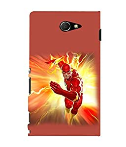 printtech Lightening Superhero Back Case Cover for Sony Xperia M2 Dual D2302::Sony Xperia M2