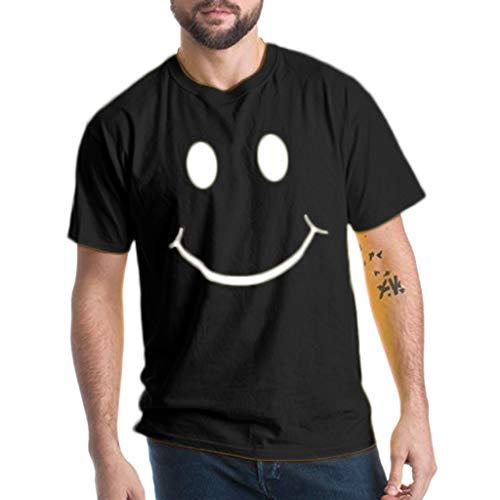 Crazboy Herren Sommer Mode Lässig Brief Einfarbig Druck T-Shirt Kurzarm Bluse(X-Large,Schwarz)