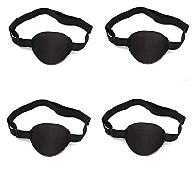 4 Pack Eye Patch Strabismus Adjustable Eye Patch Eye Mask with Buckle for Adults and Kids, Black