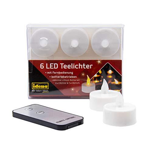 6 velas de té LED con mando a distancia, velas eléctricas con luz parpadeante, incluye pilas, decoración para bodas, fiestas, Navidad, Pascua, como luz de ambiente