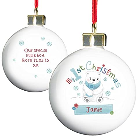 Polar Bear My 1st Chistmas Bauble Christmas Tree Bauble Personalised Message Christmas Gift Idea Personalised