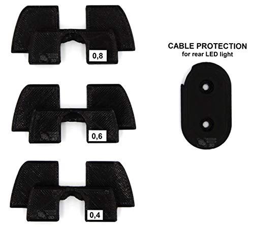 Amortiguador de vibración de Goma 3D, protección LED, Piezas de modificación para Xiaomi Mijia M365 M187 Scooter eléctrico, Negro