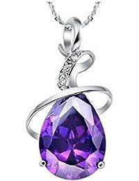 findout plaqué rhodium améthyste coeur en cristal collier en argent sterling(f23)