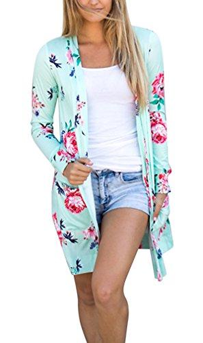 Hikong Kimono Cardigan Donna Giacca a Maglia Stampa Floreale Misto Cotone Maniche Lunghe Cappotto Camicetta Tops Casuale Elegante Verde