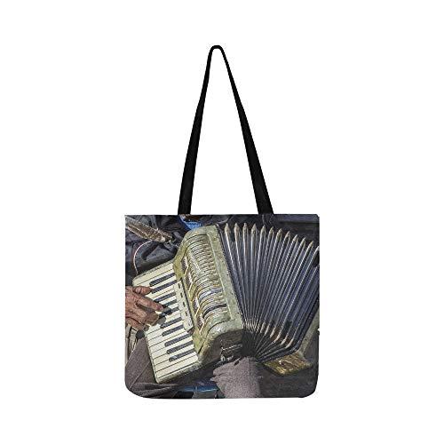 Schöne Melody Akkordeon Canvas Tote Handtasche Schultertasche Crossbody Taschen Geldbörsen für Männer und Frauen Einkaufstasche