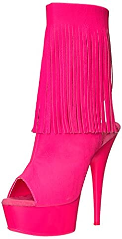 Pleaser Women's Del1019/Nhppu/m Ankle Bootie, Neon H. Pink Faux Leather/Neon H. Pink, 7 M US