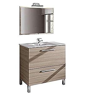 Conjunto de Baño con Lavado + Espejo + Lavabo. Grifo Incluido y LAMPARA LED Medidas Mueble: 80 cm Alto x 80 cm Ancho x…