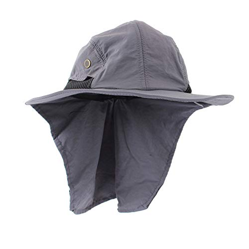 Wide Brim Roll (QVQV Outdoor Sun Protection Fishing Cap Neck Flap Wide Brim Sun Hat Travel Camp Hiking Hunting Boat Safari Cap Adjustable Drawstring for Men Women.)