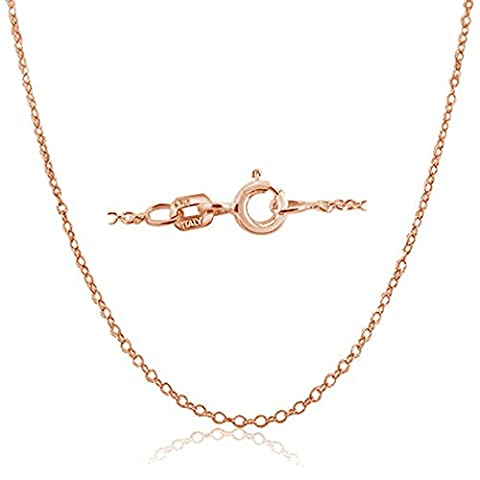 Rose Gold Plated Sterling Silver Italian 1.3mm Cable Chain Necklace with Spring Ring Closure - 28 Inch