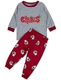 Weihnachten Schlafanzug Familie Set Mutter Vater Kind Pajama Langarm Nachtwäsche Print Baumwolle Top Hose Set