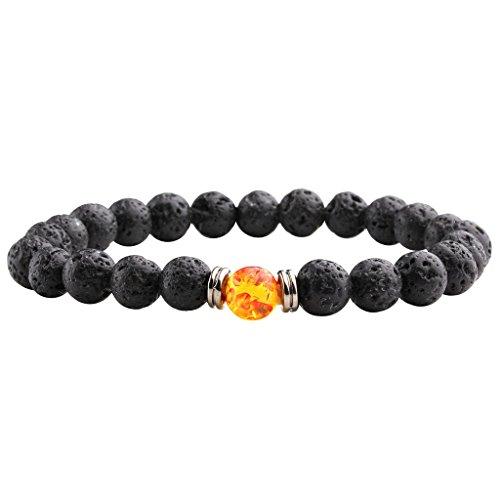 JSDDE Lava Armband,Unisex Zen-Buddhismus Armreif Energietherapie 8mm Lava-Stein Healing Wurzelchakra Yoga Buddha-Armband - #7 Rot-Gelb Bernstein