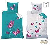 CTI Wende Bettwäsche Set Butterfly Größe 135 x 200cm 80 x 80cm 100% Baumwolle Linon türkis pink Schmetterlinge