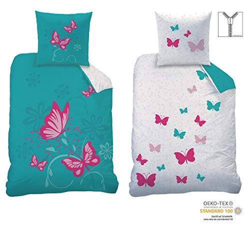 CTI Wende-Bettwäsche Set Butterfly Größe 135 x 200cm 80 x 80cm 100{40f671f9f2fe5c5c03f5f9f96949d2615d7dff9a1934b230b18c78f250f221d3} Baumwolle Linon türkis pink Schmetterlinge Mädchen-Bettwäsche