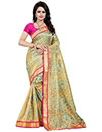 SATYAM WEAVES WOMEN'S ETHNIC WEAR EMBROIDERY NET JARI RAMA COLOUR SAREE WITH EMBROIDERED BLOUSE PIECE.