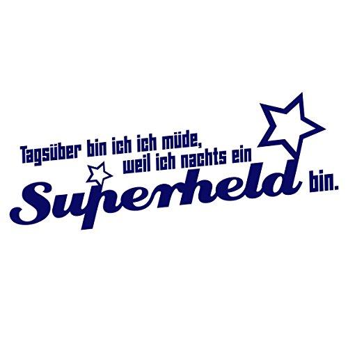 """Wandkings Wandtattoo """"Tagsüber bin ich müde, weil ich nachts ein Superheld bin. (mit 2 Sternen)"""" 110 x 46 cm dunkelblau - erhältlich in 33 Farben"""