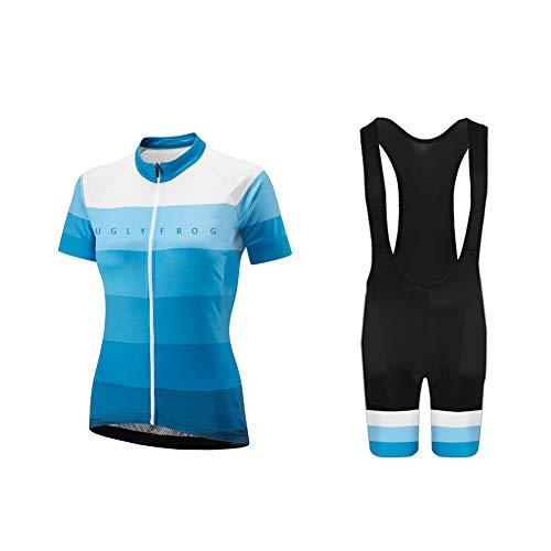 Uglyfrog Radtrikot Damen Kurzarm Fahrradbekleidung Set Outdoor Sports Radfahren Jersey + Radfahren Latzhose Shorts im Sommer -