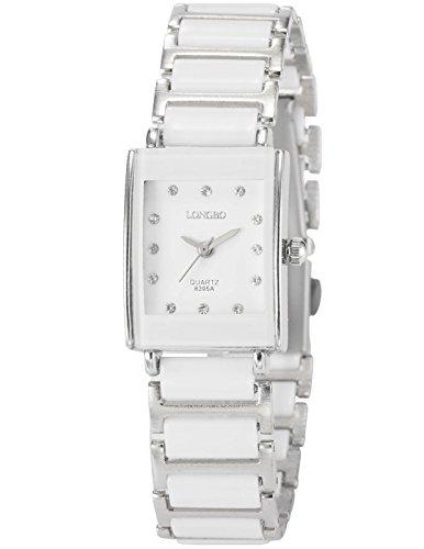 AMPM24 Damen Armbanduhr Analog Rechteck Gehäuse weiß Edelstahl Armband Quarzuhr WAA769