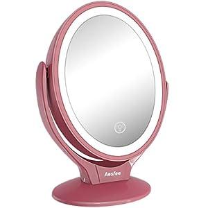 Aesfee Schminkspiegel Beleuchtet mit 21 LED-Lichtern, 1x / 7X Vergrößerung Doppelseitige 360° Drehbar Kosmetikspiegel mit Dimmbarer Touchscreen,USB Aufladbar Tischspiegel – Roségold