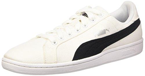Puma Smash Canvas, Chaussures de Tennis Unisexe Adulte Blanc - White (White/Black)