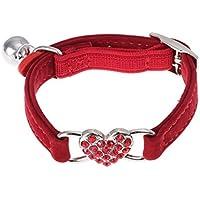 UEETEK Hundehalsband Katzenhalsband mit Herz und Glöckchen aus Samt einstellbar (rot)