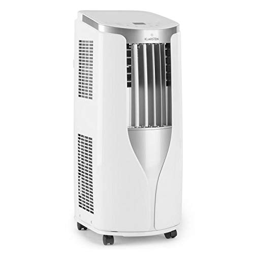 Klarstein New Breeze 9 mobile Klimaanlage Klimagerät Ventilator (2,6 kW, 9.000 BTU/h, 16-30 °C Temperatur, Zeitsteuerung, Sleep Mode Funktion, Fernbedienung, LCD-Display, Bodenrollen) weiß