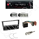 Radioeinbauset: Kenwood KMM-204- Media-Receiver mit iPod/iPhone Direct Control + 1-DIN Radioblende in schwarz+ ISO Adapter Antennenadapter ISO -> DIN für Corsa C (X01) 11/2000 - 10/2006 / Meriva (X01/Monocab) 05/2003 - 05/2010 / Signum (Z-C/S) 02/2003 - 07/2008 / Tigra Twin Top (X-C) 10/2004 - 07/2009 / Vectra C (Z02/Z18XE) 04/2002 - 07/2008 / Renault Trafic 09/2001->2010