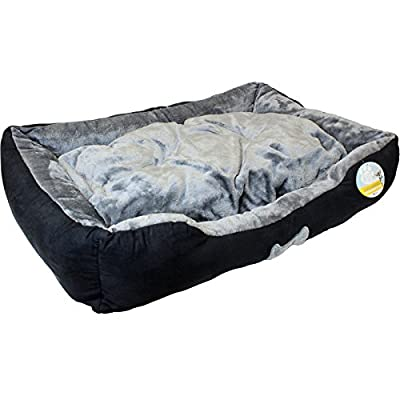 Me & My Black & Grey Large Super Soft Dog Bed