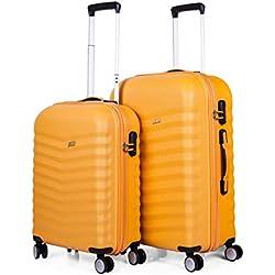 JASLEN - Juego de Maletas de Viaje Rígidas 4 Ruedas Trolley 55/65 cm ABS. Resistentes y Ligeras. Mango, Asas. Candado TSA. Pequeña Cabina 55x40x20 cm Low Cost y Mediana. 52615A, Color Mostaza