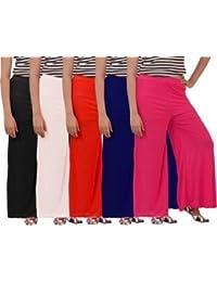 Mango People Products Women's Combo Plazo Of 5 (Pink,Royal Blue Orange, White,Black, Free Size Colours
