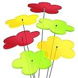 """SUNPLAY """"Sonnenfänger-Blumen"""" 6er Set - 2x Gelb, 2x Grün, 2x Rot - 6 Stück zu je 20 cm Durchmesser im Set + 70 cm Schwingstäbe -"""