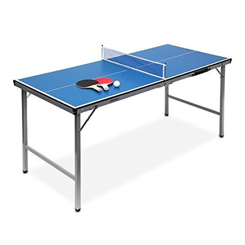 Preisvergleich Produktbild Relaxdays Klappbare Tischtennisplatte, HBT: 71 x 150 x 67 cm, tragbar, Netz, Bälle, Schläger, outdoor, MDF, Metall, blau