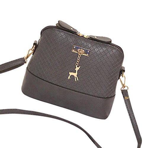 Handtasche Damen Btruely Mädchen Schulter Messenger Taschen Vintage Mini Tasche Damen Leder Umhängetasche (Grau) (Leinwand Messenger Bag Tasche Zwei)